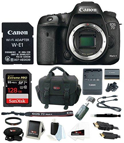 Canon EOS 7D Mark II Body Wi-Fi Adapter Kit + 128GB Bundle
