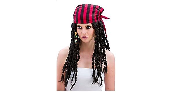 Buccaneer Beauty Pirate Wig Ladies Fancy Dress Black (peluca): Amazon.es: Juguetes y juegos