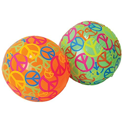 Beach Ball Yard Sign - Dozen Assorted Color (Green & Orange) Peace Sign Theme Beach Balls - 16