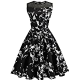 : Alixyz Women 1950s Vintage Hollow Out Sleeveless Evening Party Prom Swing Dress (M, Black)