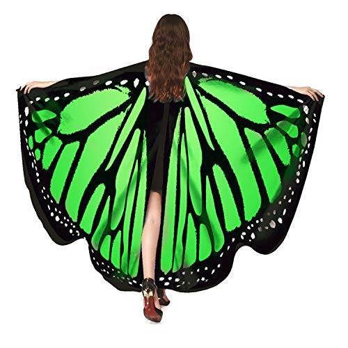 Luckcome Halloween/Party Prop Soft Fabric Butterfly Wings Shawl Fairy Costume (Green)