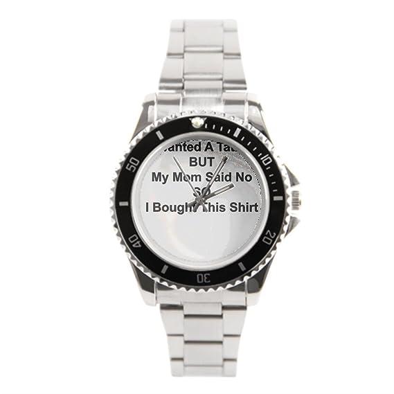 Mamá dice no a un tatuaje S barato Relojes comprar de acero inoxidable reloj de pulsera: Amazon.es: Relojes