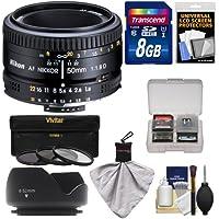 Nikon 50mm f/1.8D AF Nikkor Lens with 8GB SD Card + 3 Filters + Hood + Kit for D7100, D7200, D610, D750, D810 Cameras
