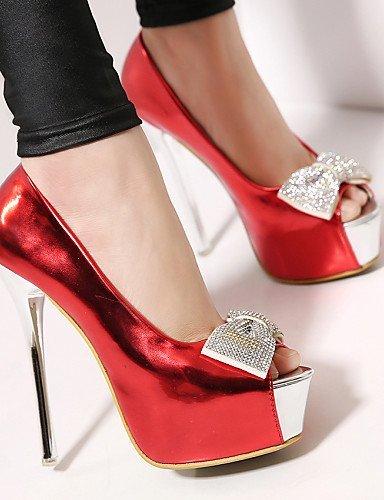 ShangYi Schuh Damen - Hochzeitsschuhe - Zehenfrei - Sandalen - Hochzeit / Kleid - Schwarz / Rot / Weiß , 5in & over-red