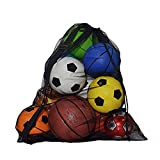 """Mesh Equipment Ball Bag Heavy Duty, Extra Large Capacity Drawstring Storage with Shoulder Strap for Gym Water Sports Football Basketball Training Equipment, Beach Toys,Swimming Gears(30"""" x 40""""inches)"""