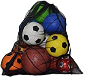 Mesh Equipment Ball Bag Heavy Duty, Extra Large Capacity Drawstring Storage with Shoulder Strap for Gym Water