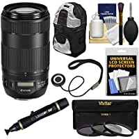 Canon EF 70-300mm f/4-5.6 IS II USM Zoom Lens with 3 Filters + Backpack + Kit