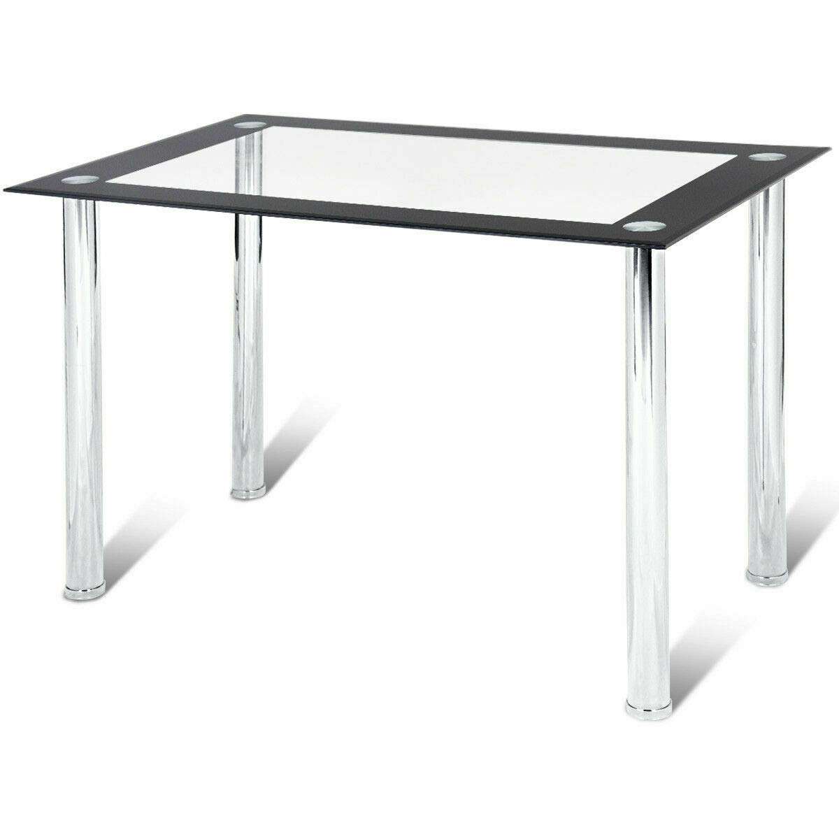 Moon Daughter Clear Table Dining Kitchen Rectangular Tempered Glass & Steel Frame Dining Room