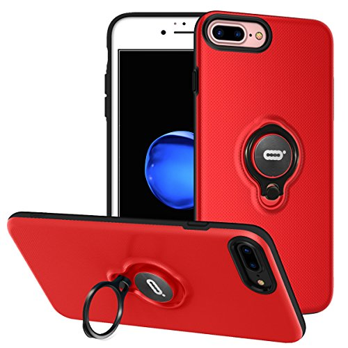 iPhone 8 Plus Case, iPhone 7 Plus Case With Ring Holder Kickstand, 360°Adjustable Ring Grip Stand Work with Magnetic Car Mount Anti-Fingerprint Slim Cover for Apple iPhone 8P 5.5 inch - Red