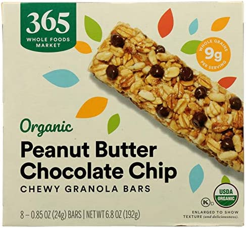365 by Whole Foods Market, Organic Chewy Granola Bars, Peanut Butter Chocolate Chip (8 - 0.85 Bars), 6.8 Ounce