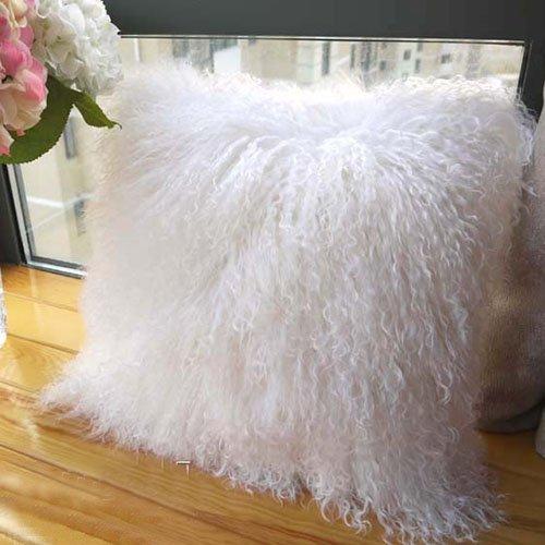 ROSE FEATHER Real 100% Tibetan Mongolian Lamb Sheepskin Wool Fur Super Soft Plush Leather Pillowcase Cushion Cover,White 20x20inch