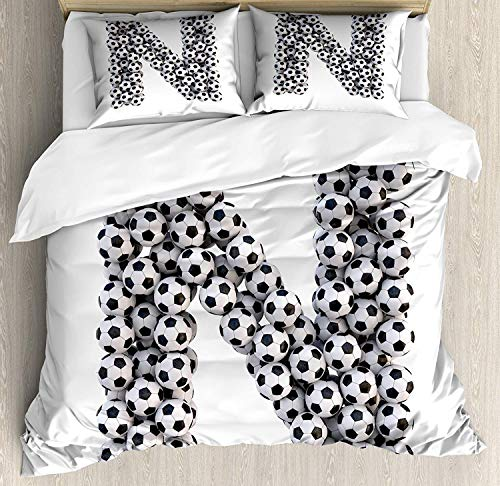 Letter N Duvet Cover Set, Hexagon Motifs Soccer Balls N Alphabet Composition Uppercase Illustration, 4 Piece Bed Set with Zipper Closure Ultra Soft Quilt Cover, Black and White King
