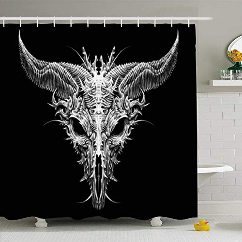 Ahawoso Shower Curtain for Bathroom 72 x 72 Inches Devil Aliens Satan Goat Head Biomechanical On Costume Apocalypse Bad Black Bull Character Horns Waterproof Polyester Fabric Set with Hooks