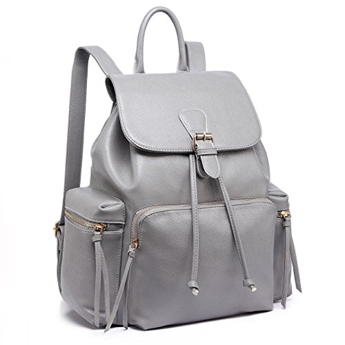 Miss Lulu Vintage PU Leather Ruchsack Casual Daypack Backpack for Unisex School Travel (Grey LH1709)