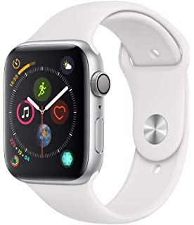 33cf0056b Apple Watch Series 4-44mm Space Silver Aluminum Case with White Sport Band,  GPS