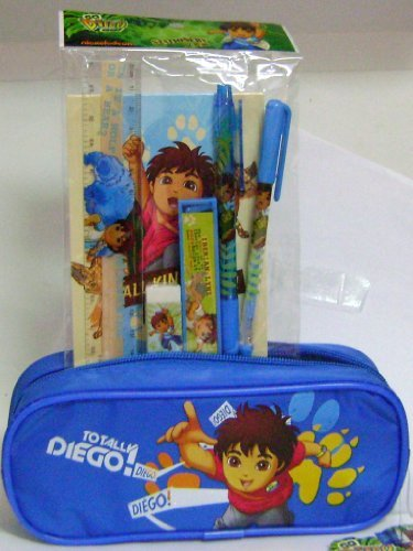 Diego Blue Pencil Case and Stationery Set