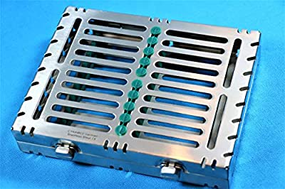 Premium German Stainless 1 Heavy Duty Dental Autoclave Sterilization Cassette Box Tray for 10 Instrument-A+Quality Double Button Type Detachable (CYNAMED Brand)