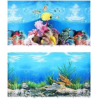 POPETPOP Aquarium Background Sticker,3D Double-Sided Adhesive Wallpaper Fish Tank Decorative Pictures Underwater Backdrop Image Decor (52x30cm)