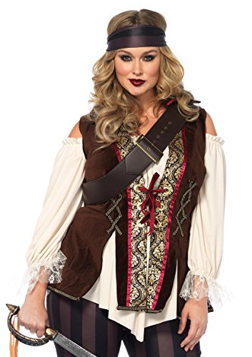 [Leg Avenue Women's Plus Size Captain Blackheart Costume, Multi, 1X-2X] (Pirate Lady Costumes Plus Size)