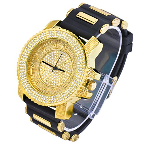 Men techno pave hip hop iced out bling diamond rapper s for Rapper watches