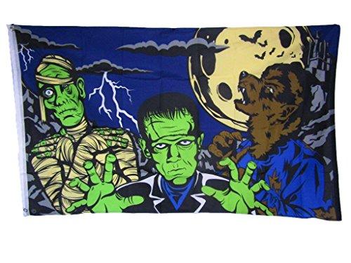 K's Novelties 3x5 Happy Halloween Spooky Fright Night Monsters Flag 3'x5' Brass Grommets -