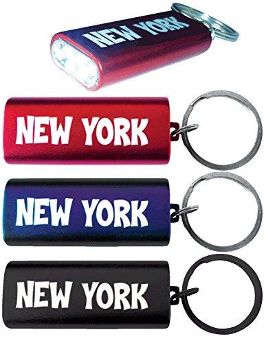 - Briyar 3-LED Metal Flashlight on Keychain New York City NY Logo Nyc Souvenir, Assorted Colors