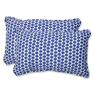 Pillow Perfect Outdoor Seeing Spots Rectangular Throw Pillow, Navy, Set of 2 - Includes two (2) outdoor pillows, resists weather and fading in sunlight; Suitable for indoor and outdoor use Plush Fill - 100-percent polyester fiber filling Edges of outdoor pillows are trimmed with matching fabric and cord to sit perfectly on your outdoor patio furniture - living-room-soft-furnishings, living-room, decorative-pillows - 517A3Ri2H1L. SS400  -