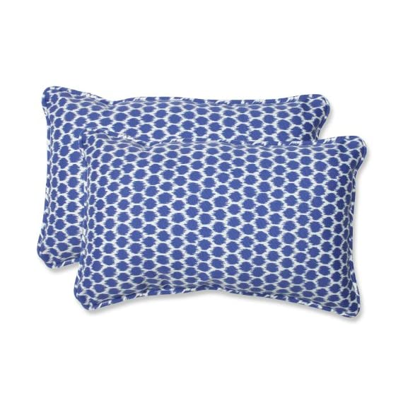 Pillow Perfect Outdoor Seeing Spots Rectangular Throw Pillow, Navy, Set of 2 - Includes two (2) outdoor pillows, resists weather and fading in sunlight; Suitable for indoor and outdoor use Plush Fill - 100-percent polyester fiber filling Edges of outdoor pillows are trimmed with matching fabric and cord to sit perfectly on your outdoor patio furniture - living-room-soft-furnishings, living-room, decorative-pillows - 517A3Ri2H1L. SS570  -