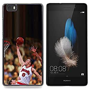 "Qstar Arte & diseño plástico duro Fundas Cover Cubre Hard Case Cover para Huawei Ascend P8 Lite (Not for Normal P8) (Raiser 8 Baloncesto"")"