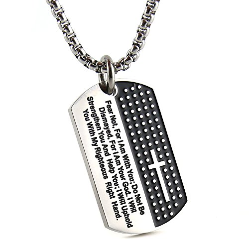 JAJAFOOK Men's Stainless Steel Cross and Lord's Prayer Carved Dog Tag Pendant Necklace, Christian Jewelry