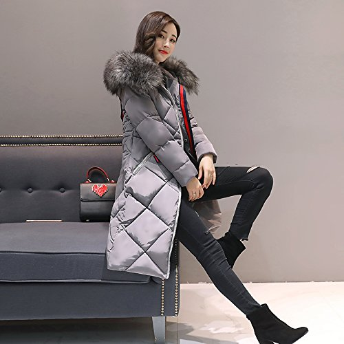 Zipper Jacket DYF Medium Long length L Down Hat Thickened Pocket sleeve Coat Grey ICUw65Ux