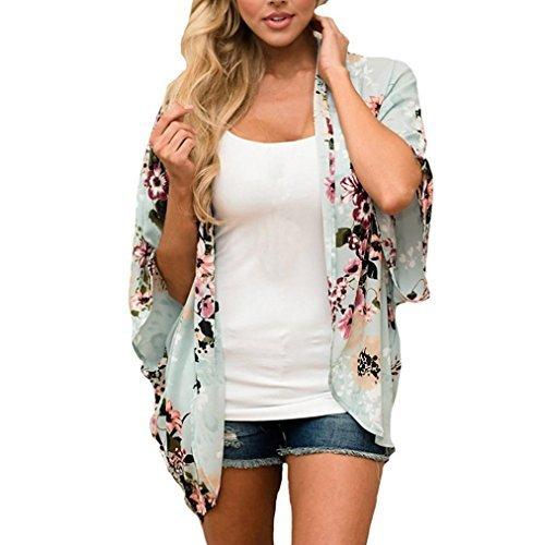 Remiel Store Women Chiffon Floral Print 3/4 Sleeves Kimono Cardigan Top Cover Up Beachwear Shirt (Print 3/4 Sleeve Cardigan)