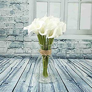 Vlovelife 20pcs Artificial Calla Lily Bridal Wedding Bouquet Lataex Real Touch Artificial Flower Fake Flower Home Wedding Party Festival Decor 26