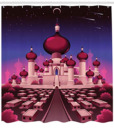 Ambesonne Fantasy Shower Curtain, Arabian Castle at Night Oriental Fairy Tale Palace Landscape Illustration, Cloth Fabric Bathroom Decor Set with Hooks, 70 Inches, Indigo Magenta -