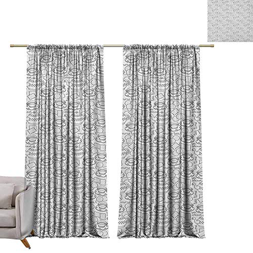 berrly Print Decorative Window Drapes Tea Party,Doodle Drawing Monochrome Tableware Pattern with Biscuits and More Tea Quote, Grey White W96 x L108 Light Blocking Curtains
