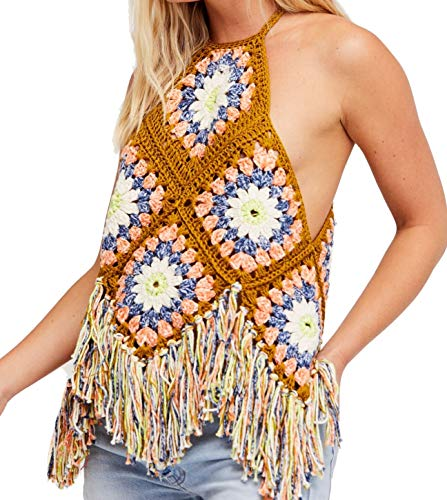 - Free People Summer Love Crochet Halter Top (Multi, M/L)