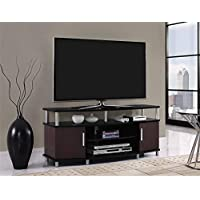 Carson 50 Inch Flat Panel TV, A/V Components, DVDs and Media Players Stand Space Furniture - Black/Cherry