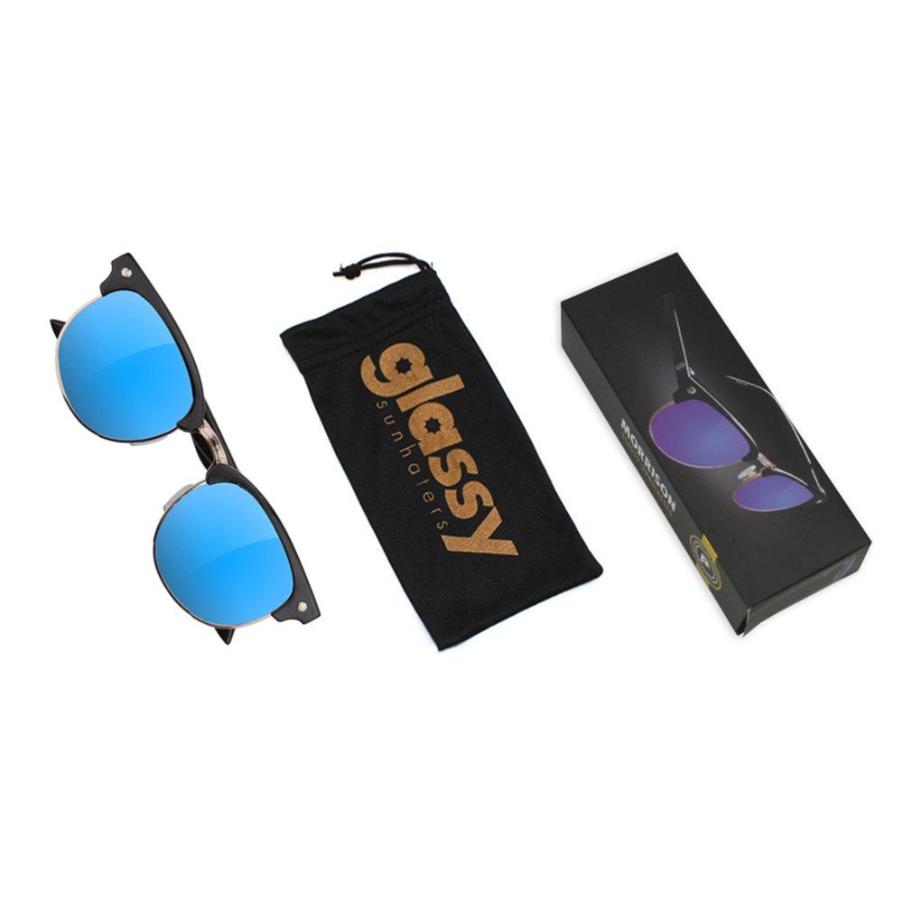 9a38e984b7 Amazon.com  Glassy Morrison Polarized Half Rim Black Blue Sunglasses   Clothing
