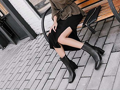 Bootie Black Zipper Tall Square Boots Heel Women Eu Boot Martin Handsome 39 Toe Chelsea Shoes 35 Chunkly 8cm Size Wedding w7HqEWtx