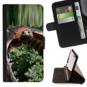 BullDog Case - FOR/Sony Xperia Z2 D6502 / - / flying hawk green nature bird feathers wing /- Monedero de cuero de la PU Llevar cubierta de la caja con el ID Credit Card Slots Flip funda de cuer