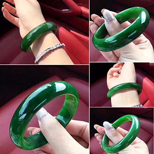 (TKHNE Natural Xinjiang Hetian jade bracelets and necklace pendant ring bracelet spinach green certificates sent no black)