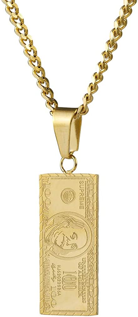 Nsitbbuery Hip Hop Stainless Steel Dollar Bill Tag Pendant Necklace