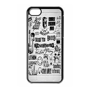 Custom Hard Plastic Back Case Cover for iPhone 5C with Unique Design Nirvana