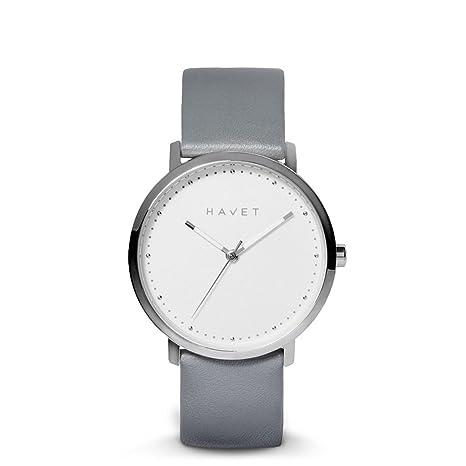 HAVET | Reloj de mujer Dyna de acero esfera blanca y correa de piel color gris: Amazon.es: Relojes
