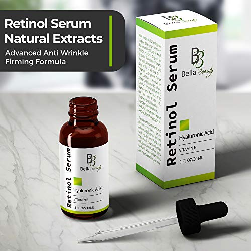 517A5GWsClL - Anti Aging Hyaluronic Acid and Retinol Serum 2.5% for Face with Vitamin E For Oily Acne Skin - Best Retinol Facial Moisturizer - Reduce Fine Lines - Wrinkle - Dark Spots - Pure Organic Ingredients