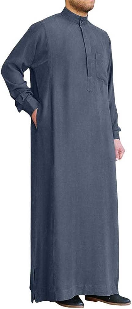 Musulmán Thobe Ropa Hombre - Color Sólido Casual Kaftan Islámico Abaya Suelto Algodón Manga Larga Túnica Collar de Pie Camisa con Bolsillos