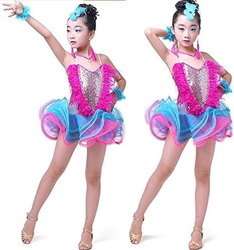 Freebily Kids Girls Sequin Hip Pop Modern Jazz Dance Dress Stage Performance Ballroom Dancing Costume