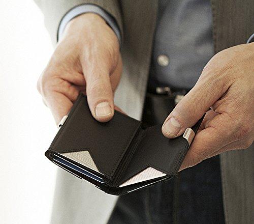 Exentri de cuero genuino monedero tarjeta de crédito Blue
