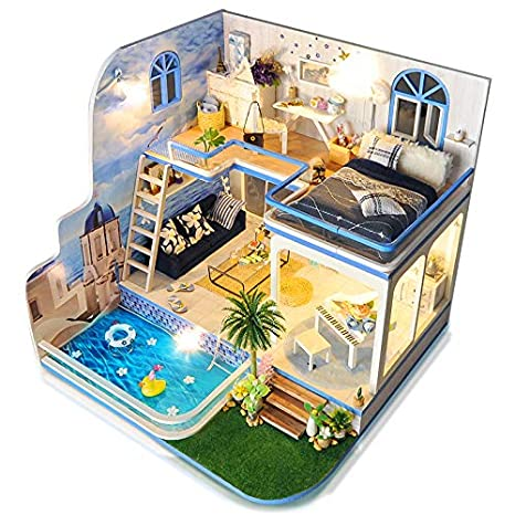 Model Building Architecture/diy House/mininatures Original Diy Villa Doll House Wooden 3d Lights Miniature Dollhouse Furniture Puzzle Kit Toys For Children Girl Gift Bestist Gifr For Kids Consumers First