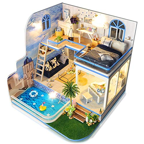 Dollhouse Pool - Spilay Dollhouse Miniature with Furniture,DIY Dollhouse Kit Mini Modern Duplex Home Model with Music Box ,1:24 Scale 3D Puzzle Creative Best Christmas Birthday Gift for Lovers and Children(Blue Mark)